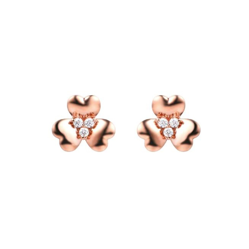 18K Gold Clear CZ Crystal 3 Petal Flower Anti Allergy Piercing Stud Earrings AU750 Jewelry For Children Girls Baby Kids 1 pc lh with bulb front bumper fog lamp for new ford focus 2015 on