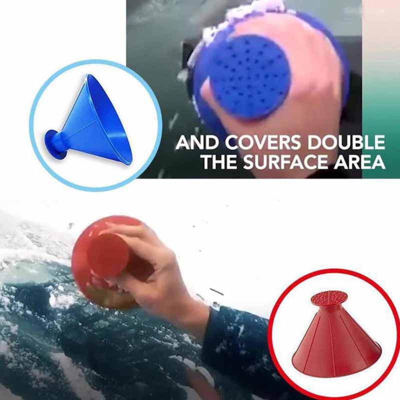 Magic Window Cleaner Windshield Car Ice Scraper Cone Shaped Funnel Snow Remover Tool Scrape A Round