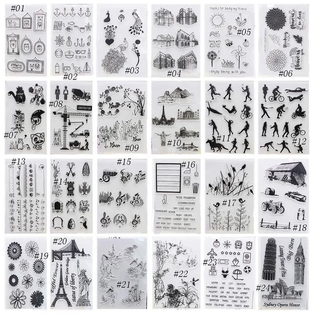 1PC New Arrival Alphabet Transparent Silicone Clear Rubber Stamp Sheet Cling Scrapbooking DIY Ctue Pattern Decorating Stamps