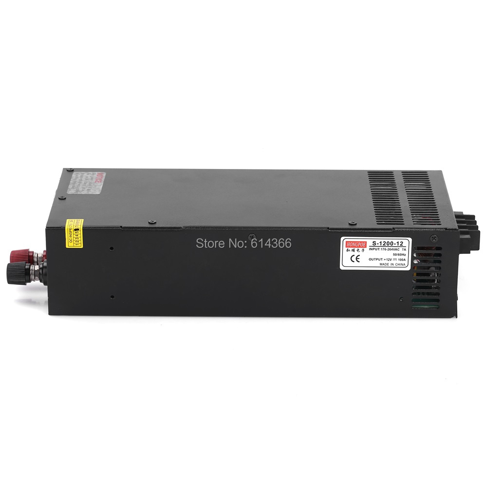 1PCS 1200W 12V 100A  power 12V Power Supply 12V 100A AC-DC High-Power PSU 1200W S-1200-12 1pcs 1200w 24v power supply 24v 50a ac dc high power psu 1200w 230v s 1200 24 24v50a