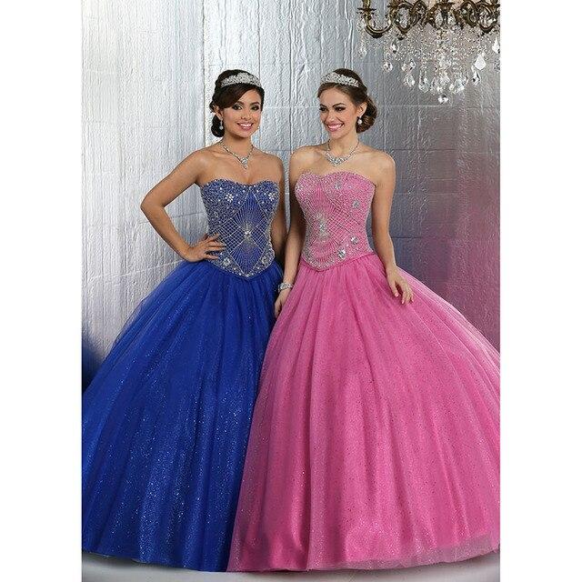 Impressionante azul Royal Quinceanera vestido de baile doce 16 vestidos Strapless frisada Bling Bling Organza Ruffles Quinceanera
