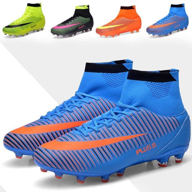 a1112f754 Nuevas Botas de fútbol de tobillo alto para hombre FG zapatos de fútbol  Superfly Turf calcetín