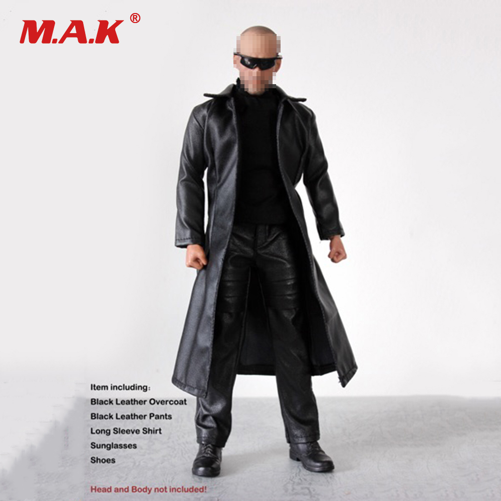1/6 Scale Male Clothing Set with Glasses Leather Coat & Pants & Shoes Fit 12'' Man Action Figure 1 set male