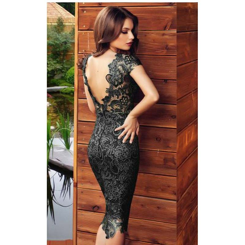 2016 Sexy Black Cocktail Dresses Floral Lace Knee Length Summer ...
