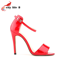 High Heels Open Toed Sandals Summer Big Size 4243 Sexy Patent Leather font b Women b