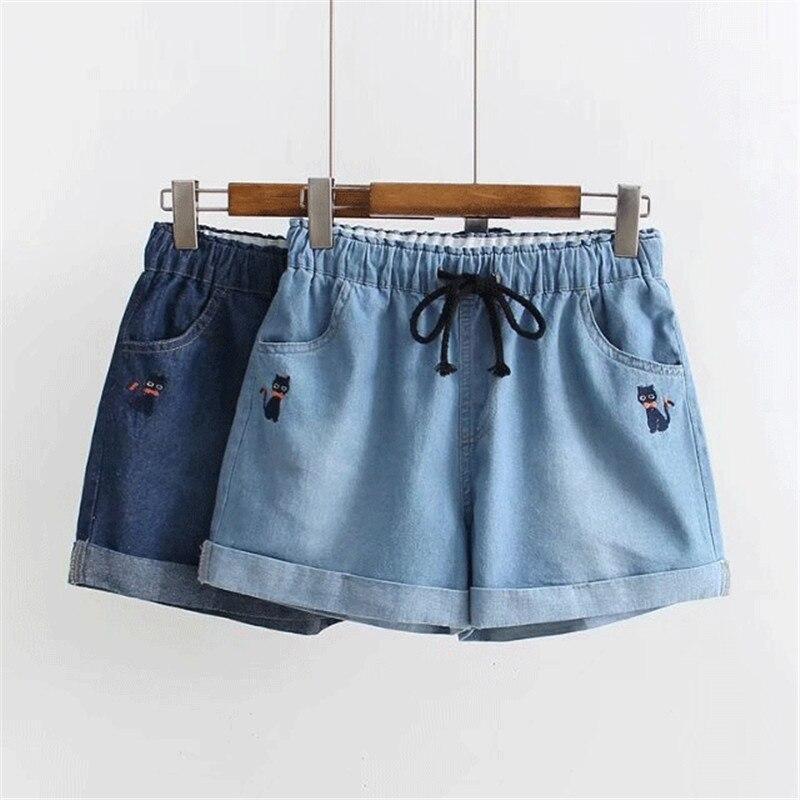 Japanese Soft Sister Rolled Kawaii Denim   Shorts   Female Summer Cat Embroidery Elastic Drawstring Waist Cuffs Jeans   Shorts