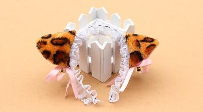 Для взрослых и детей, для костюмированной вечеринки; цвет черный, белый, розовый; кошка neko Ушная повязка на голову в виде животного с колокольчиком горничная Лолита кружевной ободок вечерние украшения - Цвет: leopard