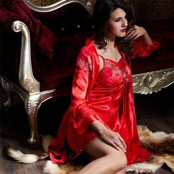 Xifenni Robe Sets Female Satin Silk Sleepwear Women Two-Piece Bathrobes Sexy Lace Embroidery Faux Silk Sleeping Dress 9224