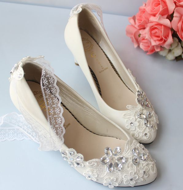 2e9f01080203 Wedding shoes for woman sexy lace rhinestones bridal pumps mid low high  heels custom make party proms wedding shoe-in Women s Pumps from Shoes on  ...