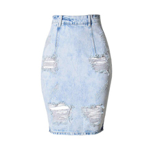 Ripped Denim Skirts With Holes High Waist Back Slit Zipper Blue Jean Skirt Pencil Midi Skirt Korean Style Sexy Elegant For Women