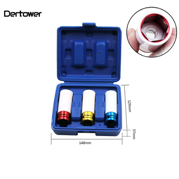 3PCS 17/19/21mm Pneumatic Tyre Protection Sleeve 1/2 Colorful Steam Sleeve Auto Repair Hardware Tool and Case auto accessories 3pcs set 17 19 21mm tire protection sleeve wheel deep impact nut sockets red yellow blue 17mm 19mm 21mm