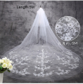 Hot Sale Women Beige Cut Edge Two Layer 5 Meters Wedding Long Veils Ivory Bridal Veils Tulle Cathedral Veils