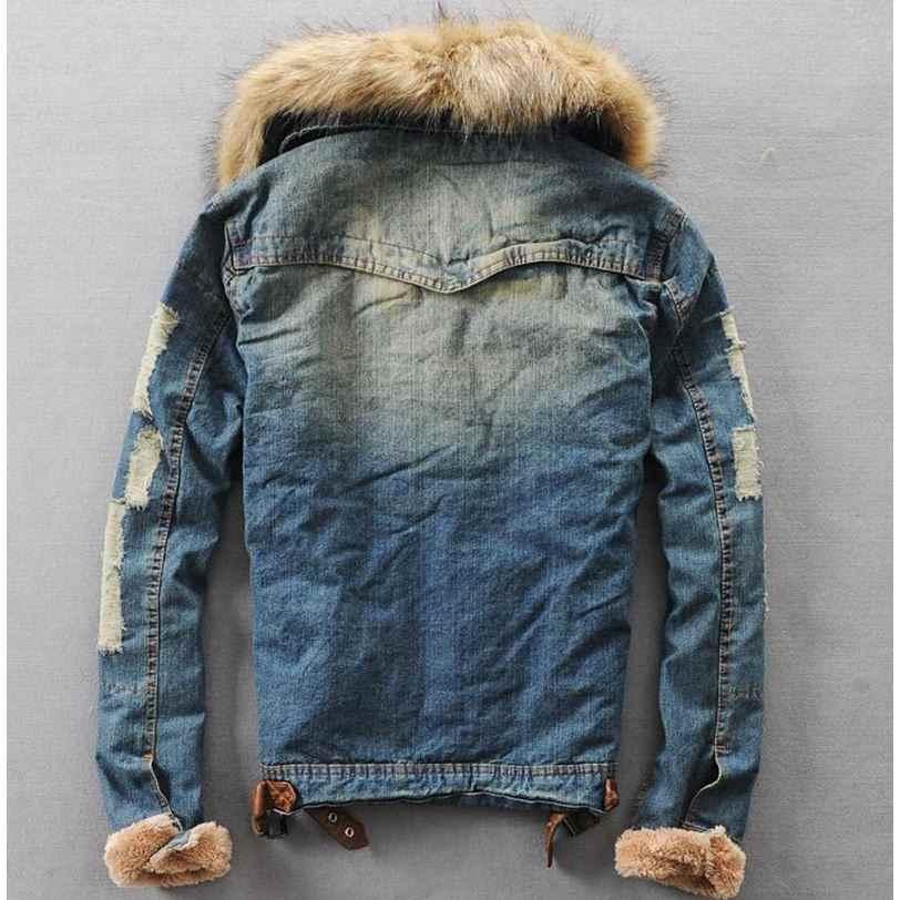 2018 新冬デニムジャケット男性 Clothese ジーンズコートメンズカジュアルジャケットアウター毛皮の襟のウール厚手のフリースジャケット