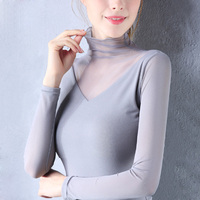 New Fashion Sexy Women Long Sleeve Turtleneck Slim Spring Autumn Thin Elastic Lace Shirt Female Girls