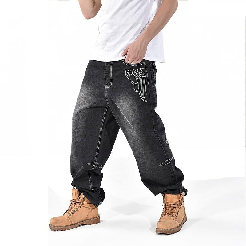 4605c731e0b91 Avec grande poche ample Jeans pour hommes Hip Hop Baggy Jeans Denim Harem pantalon  grande taille
