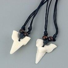 12 шт. Белая Акула зуб акулы подвеска «зуб» имитация кости яка Ожерелье Амулет воск шнур ожерелье подвески