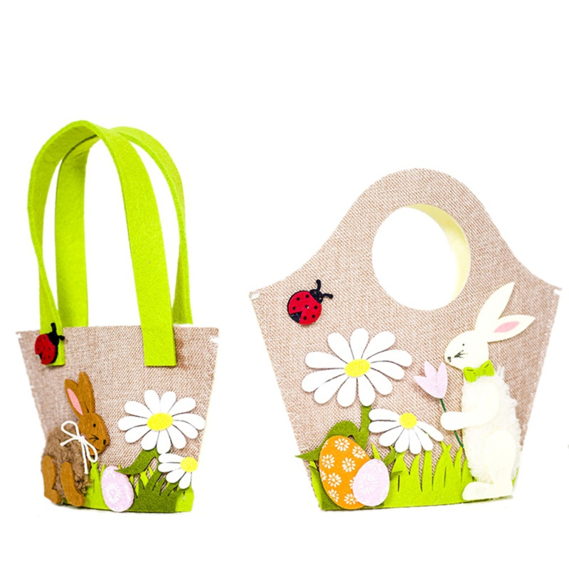 Functional Bags 2019 Fashion Toy Handbag Home Decor Egg Basket Gift Decoration Easter Bunny Kids Cute Rabbit Storage Party Supplies Candy Flower