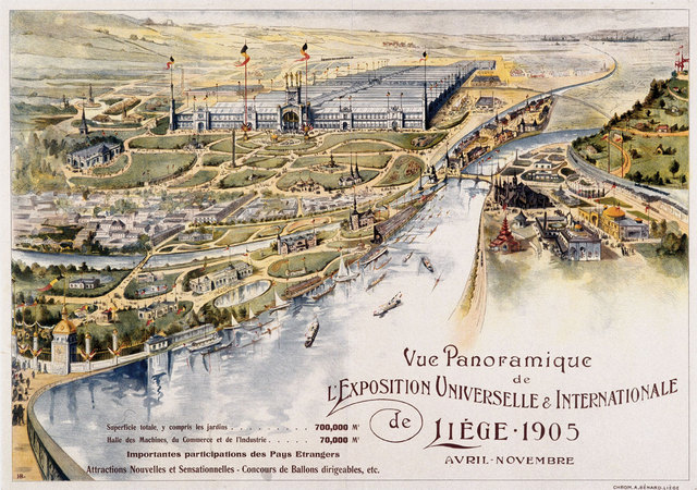 France Tourism Posters Liege 1905 City Map Classic Wall Sticker