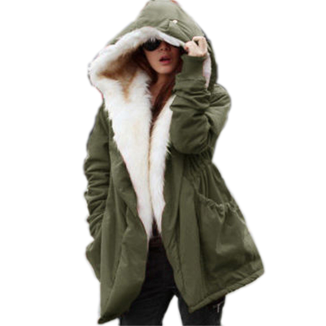 1fc8e984dc9 Roiii Winter High Street Wear Plus Size Women Parka Jacket Faux Fur Lining  Warm Slim Coat Zipper Thick Hood Female Warm Outwear