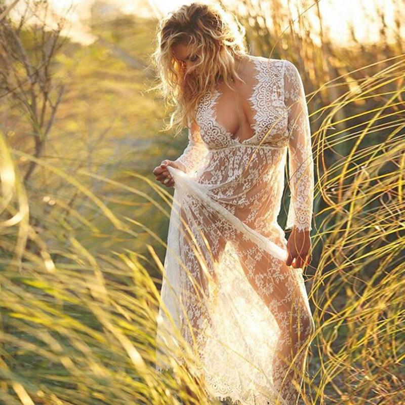 2017 Women Beach Sexy Strap Sheer Floral Lace Beach Dress Embroidered Crochet Hippie Boho vestidos Dress