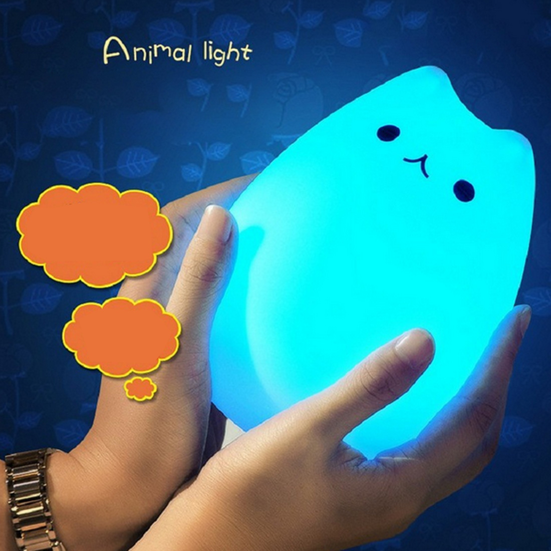 1pcs Silicone Touch Sensor LED Night Light For Children Baby Kids Colorful Cartoon Cat LED USB LED Animal Night Lamp colorful waterdrop cartoon led charging night light