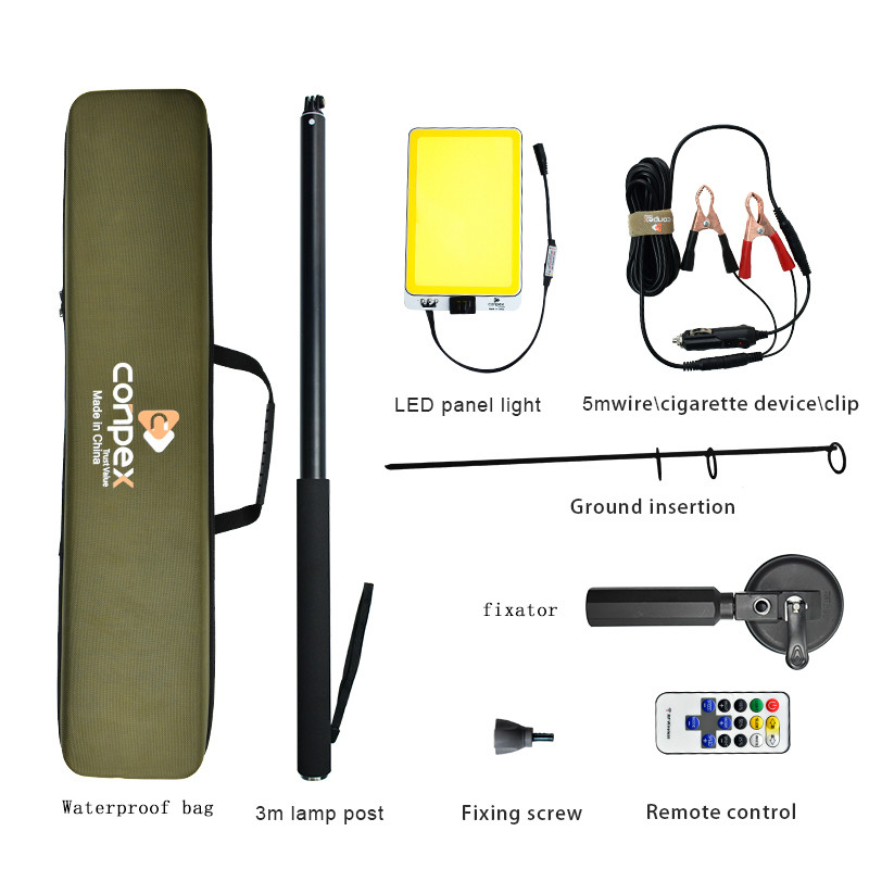 Image 5 - 3M Telescopic LED Fishing Rod Outdoor Searchlight Camping Lantern lamp for Road Trip Self drive Travelling with Remote Control-in Portable Spotlights from Lights & Lighting