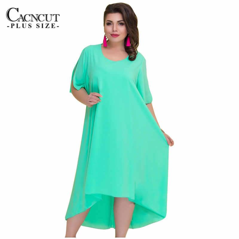 Cacncut 5XL 6XL大サイズ固体シフォンドレスの女性の夏ヴィンテージ不規則なロングドレス 2018 プラスサイズルースvestidos