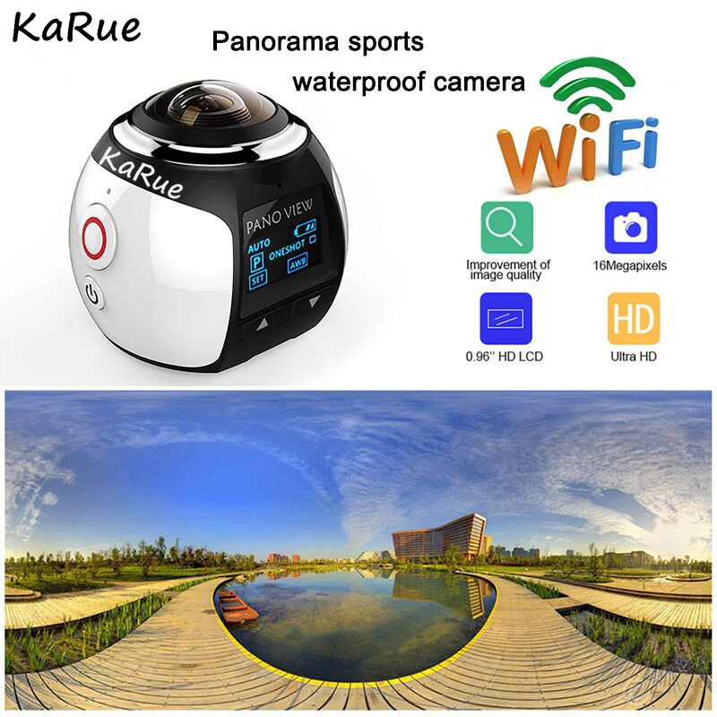 KaRue 4K 360 Action Camera Wifi Mini Panoramic Camera 2448*2448 Ultra HD Panorama Camera 360 Degree Sport Driving VR Ca soocoo 360h wifi 360 degree panorama vr 4k camera 1080p 60fps full hd lcd screen mini sport action camera with remote controller