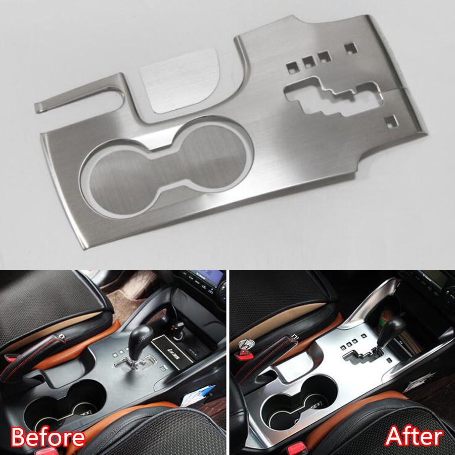 YAQUICKA Stainless Steel For Hyundai Tucson IX35 Car Interior Gear Shift Box Water Cup Holder Panel Cover Trim Styling Stickers