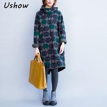 2017 Women Hoodies Sweatshirts Winter Thickening Warm Cotton Fashion Female Cat Print Big Size Casual Turtleneck Dress Plus Size
