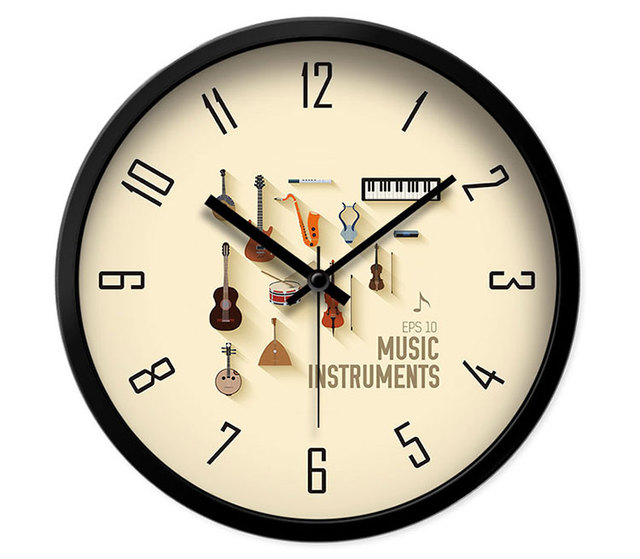 Hot Fashion Modern Design Wall Clock Home Decor Music Training Classroom Piano Musical Instruments Wall Watch