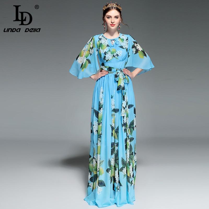 LD LINDA DELLA Runway Maxi Dress Women's Flare sleeve Belt Casual Bohemian Party Holiday Lemon Floral Print Long Dress