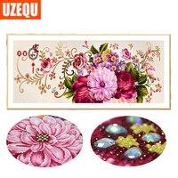 UzeQu 120x50cm 3D Special Shaped Diamond Painting Flower Peony Cross Stitch DIY 3D Diamond Embroidery Full