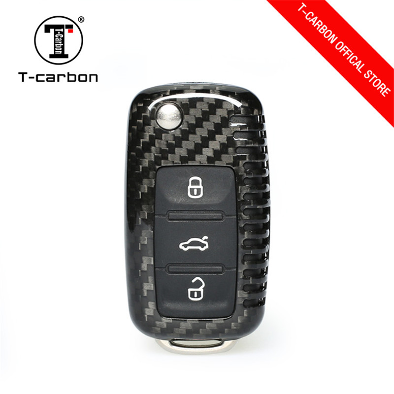 Carbon Fiber Car Fob Remote Key Case Cover Shell Refit Replacement For Volkswagen Golf Bora Jetta POLO GOLF Passat Car Styling