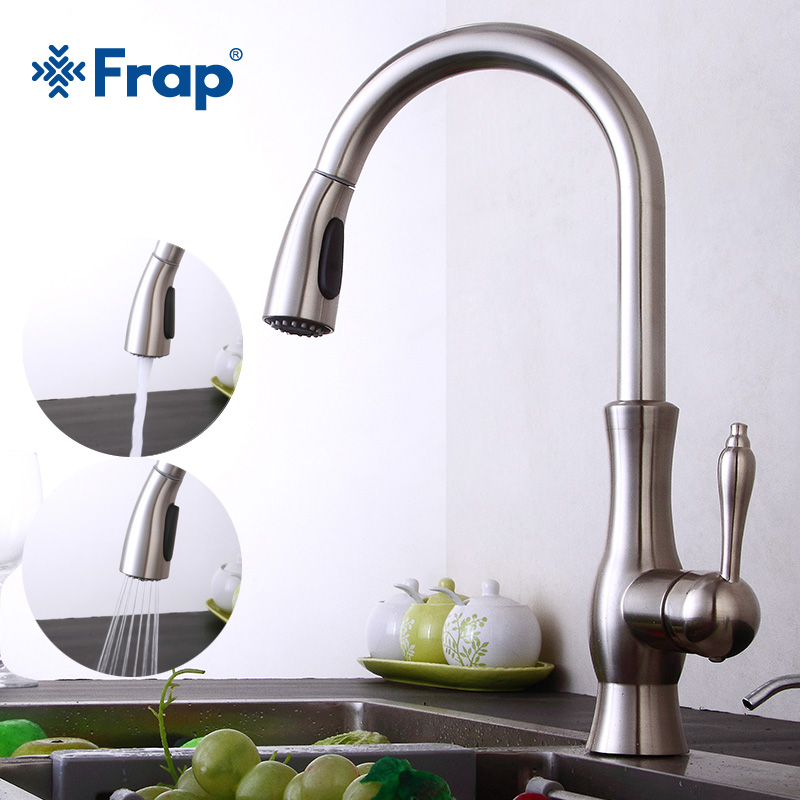 Frap Retro Kitchen Faucet Brass Brushed Nickel Kitchen Sink Faucets