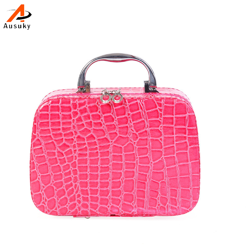 Ausuky Women Beauticians Cosmetic Cases Travel Handbags Pu Leather Organizer Makeup Bag Wash Bags Make Up Cosmetic Case-35 ladsoul 2018 women multifunction makeup organizer bag cosmetic bags large travel storage make up wash lm2136 g