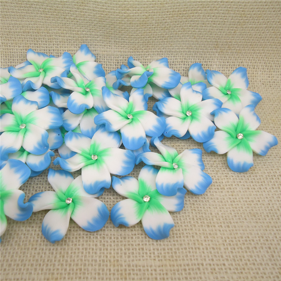 Jewelry & Accessories 10pc/lots 45mm Clearance Sale Big Artificial Clay Fimo Plumeria Flower Beads Blue With Stone For Hawaii Earrings Necklace Making Good Heat Preservation