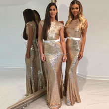 Gold Sequin Bridesmaid Dress 2017 Backless Mermaid Wedding Guest Dresses Long Bridesmaid Gowns with Belt vestido madrinha