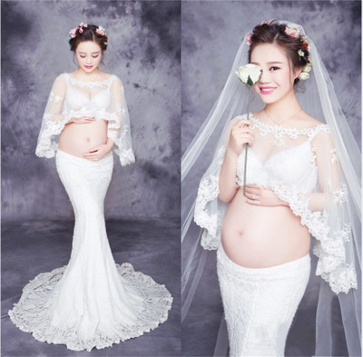 2018 White Lace Maternity Dress for Photo Shoot Maxi Maternity Photography Props Mermaid Maternity Gown maternity photography props lace dreeese maternity dress photo shoot maxi maternity gown lace dress y814