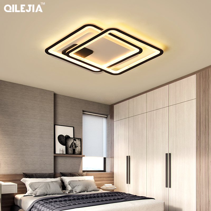 Remote Control Chandeliers For Living Room led Indoor Lamp Large Square frames Hanging Lighting Fixtures Chandeliers