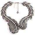 Nuevas Plumas de Diseño Vintage de Cristal Grande Declaración de Metal Grueso Collar y Colgante de Joyería de Moda Para Las Mujeres