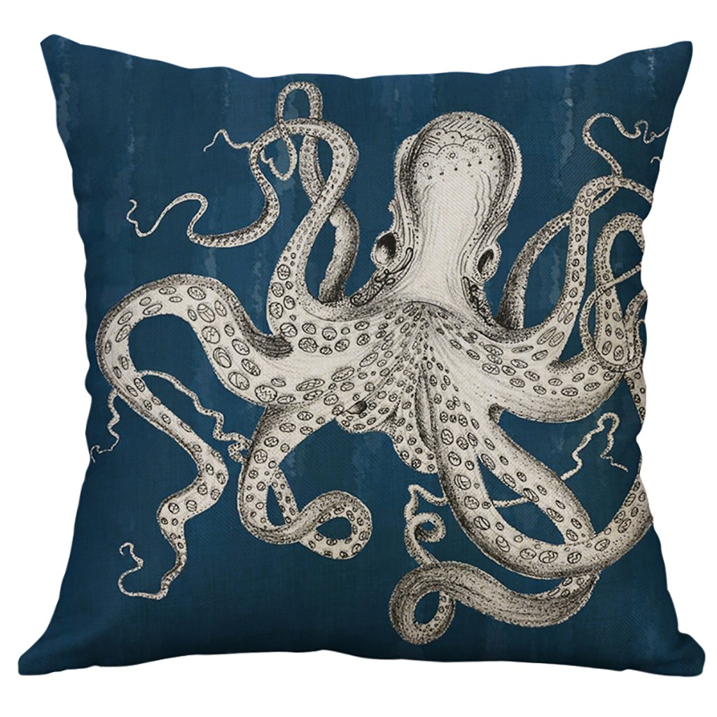 Image 3 - Marine Life Coral Sea Turtle Seahorse Whale Octopus Cushion Cover Pillow Cover Home Decorative Housse De Coussin 45x45cm-in Cushion Cover from Home & Garden