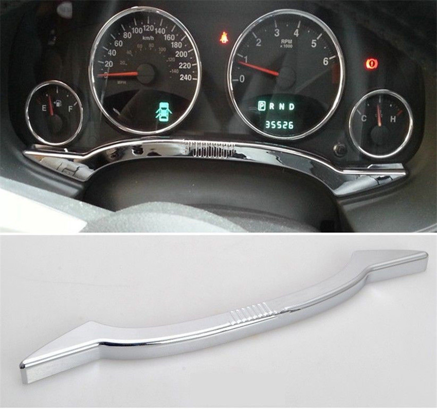 YAQUICKA Chrome ABS Silver Interior Dashboard Instrument Strip Trim Sticker Car Styling Fit For Jeep Patriot Compass 2011-2015