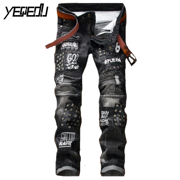 ФОТО #2791 2017 Straight Black jeans men Motorcycle Biker Fashion Hip hop jeans Ripped jeans for men Slim fit Mens jogger jeans