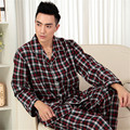 Men's Pajamas Spring And Autumn Long Sleeve Sleepwear 100% Cotton Woven Classic Plaid Pyjamas Men lounge Pajama Set 3XL