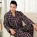 Pijamas de los hombres de Primavera Y Otoño de Manga Larga ropa de Dormir 100% Algodón Tejido Clásico Plaid Pijamas Pijama Conjunto de salón de Los Hombres 3XL