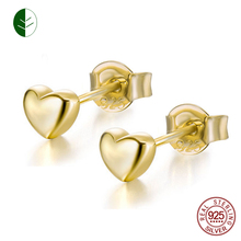 High Polished 925 Sterling Silver Ear Gold Color Jewelry Fashion Cute Tiny Small Love Heart Stud Earring Woman Gift Bijoux zk30