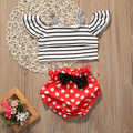 2017 Hot Fashion Baby Girl Clothes Summer Off shoulder Striped Crop Top +Polka Dot Bow Bloomers Bottom 2PCS Outfit Clothing Set