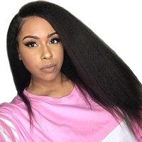 Kinky прямые синтетические волосы на кружеве натуральные волосы Искусственные парики для Женский, черный 13X4 часть предварительно сорвал 250 пл