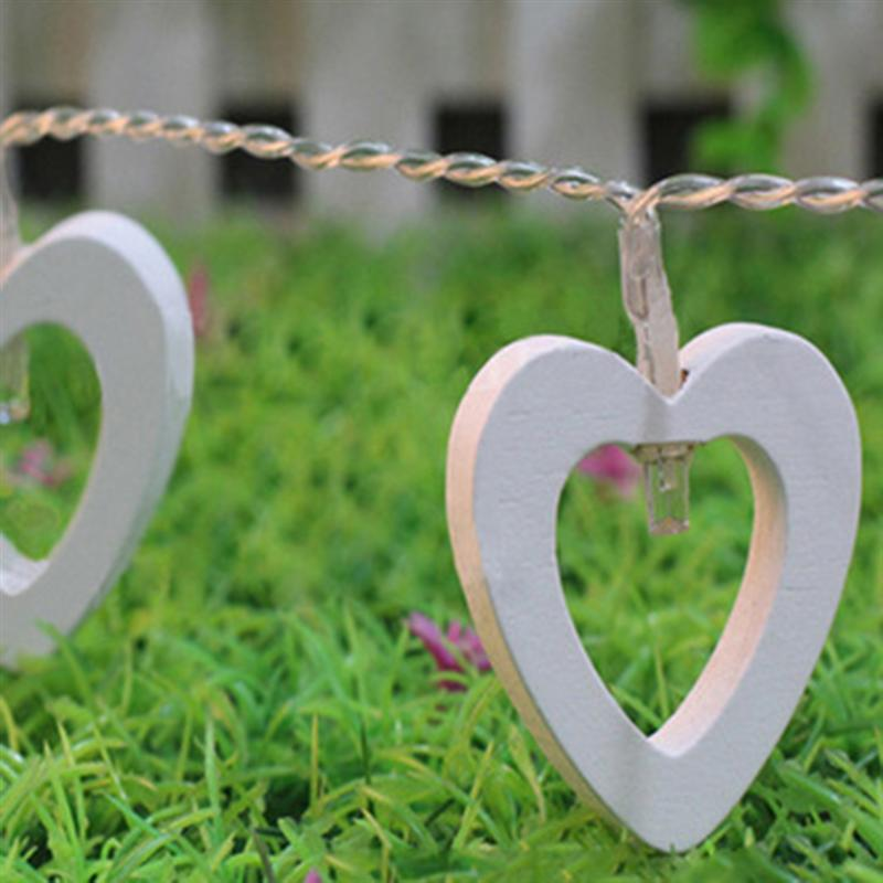 2.2m Led String Lights Wooden Heart 20-LED Rope Lights